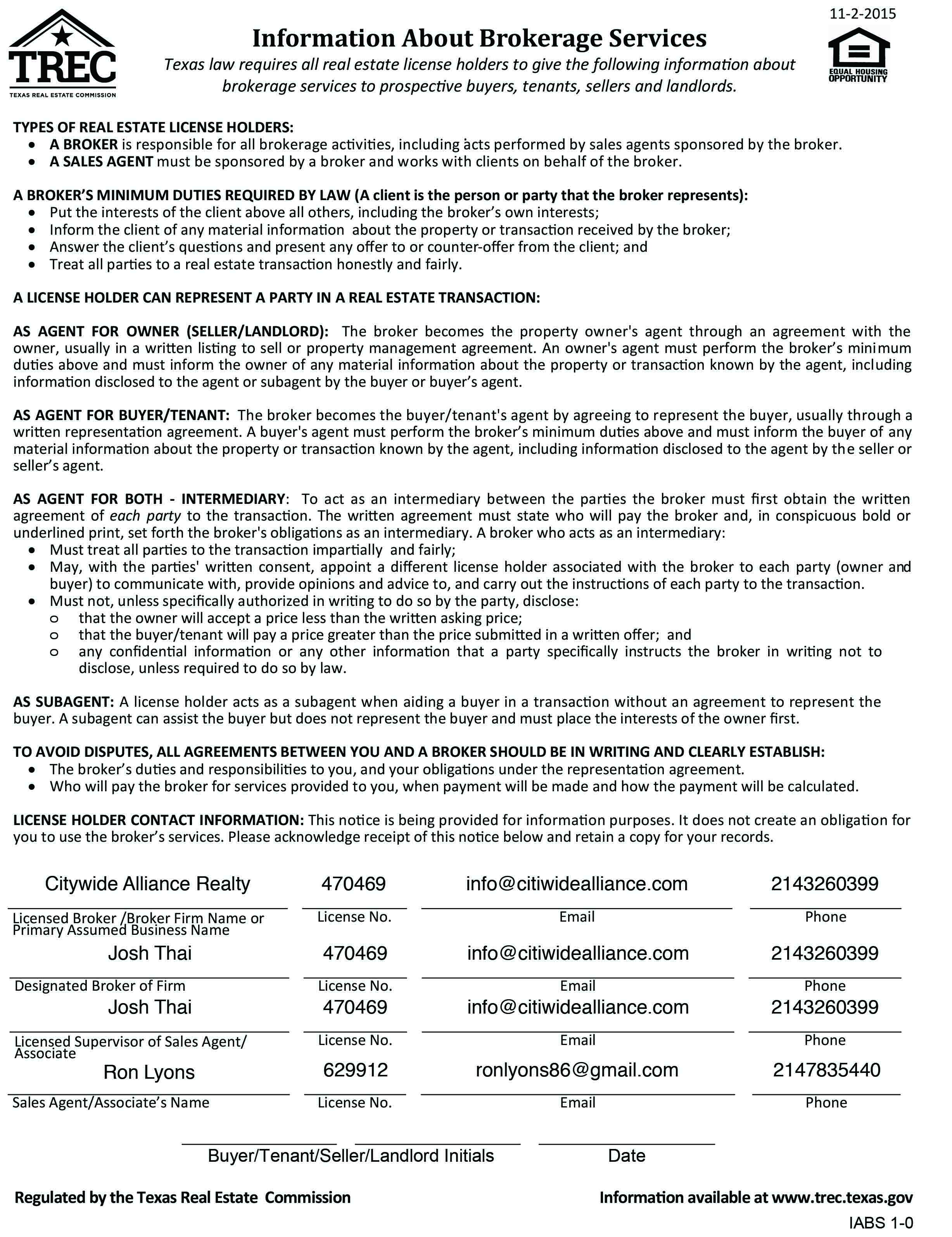 Information About Brokerage Services (Click to enlarge)