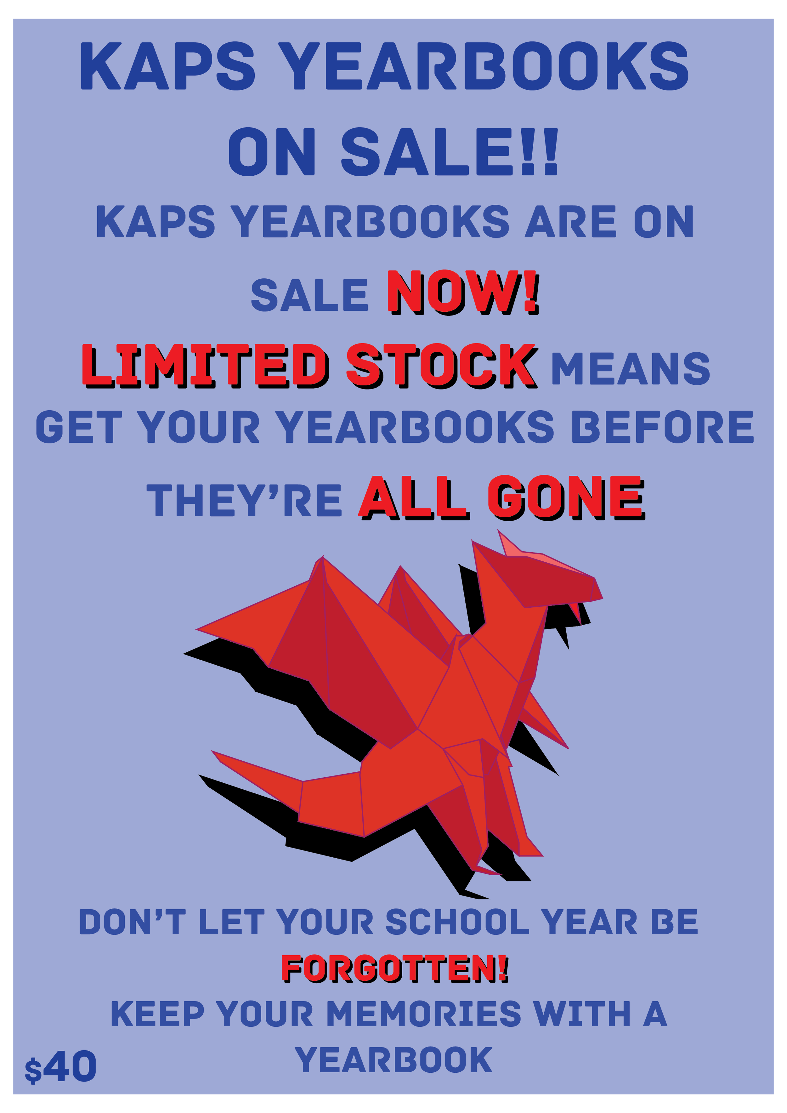 We have the following yearbooks for 5.00 ea 2005-2006, 2006-2007, 2014, 2015, 2015-2016, 2017-2018  Please Contact: Stella McPherson smcpherson@kapschool.org If you would a yearbook from prior years.  (Please Note: Current Year Books are $30 ea.)