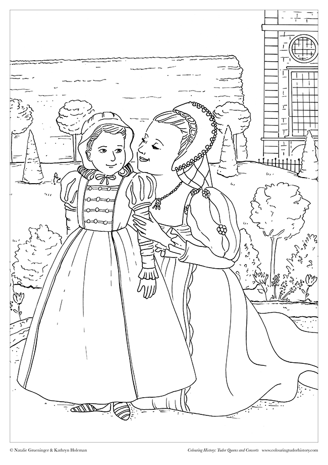"Illustration based on a scene between Queen Anne Boleyn and a young Elizabeth I from the film ""Anne of The Thousand Days."""