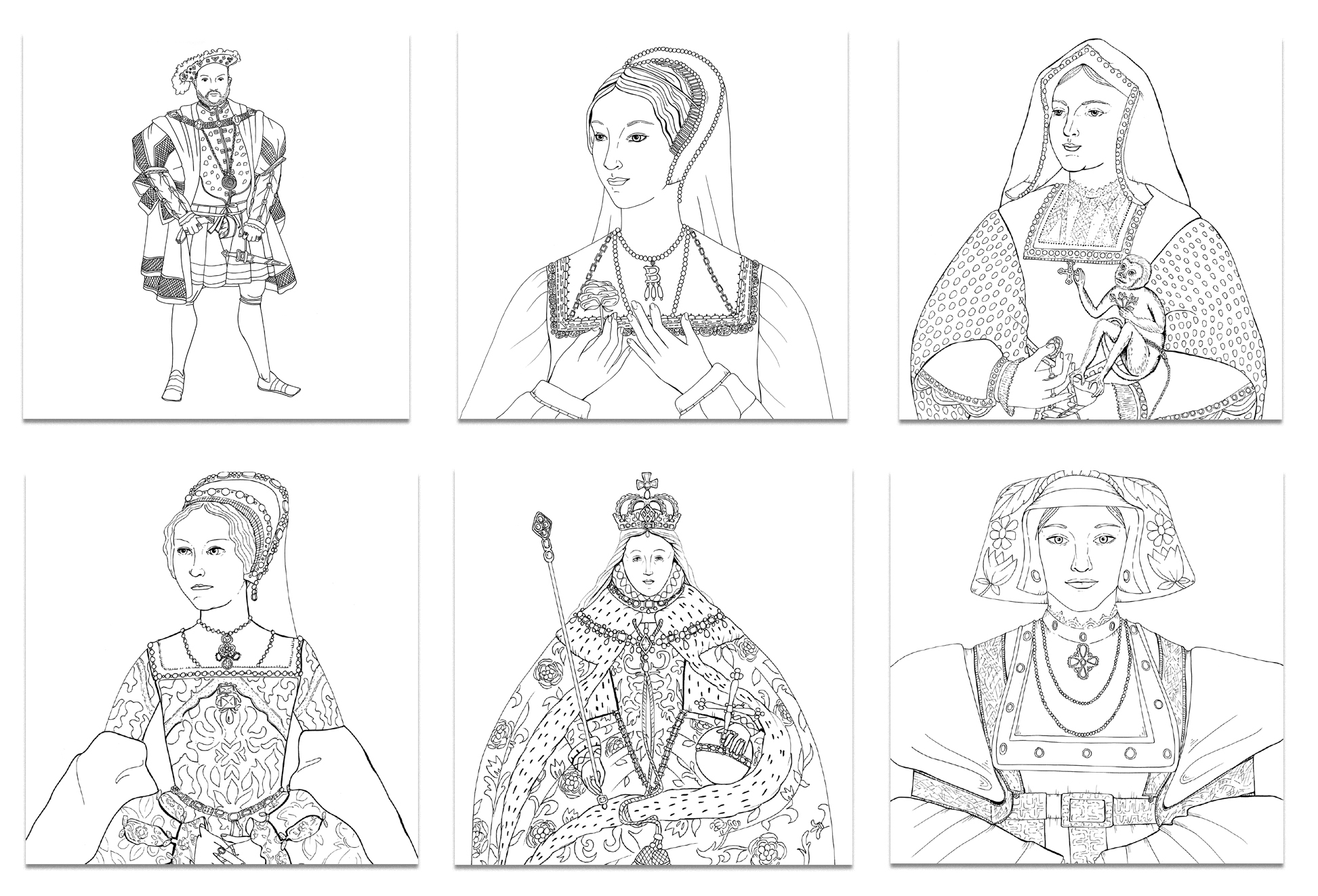 The Tudors portraits from Colouring History series