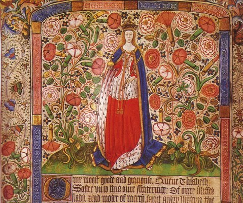 Elizabeth Woodville in her Coronation Robes, from the Guild Book of the London Skinners' Fraternity of the Assumption of the Virgin Mary, c. 1472