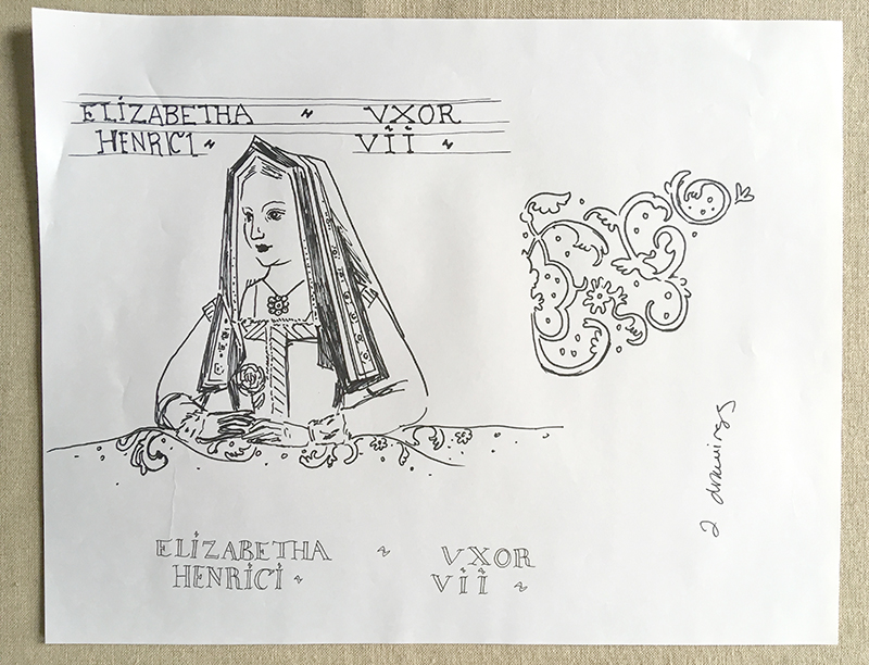 Rough sketch of the Elizabeth of York portrait.