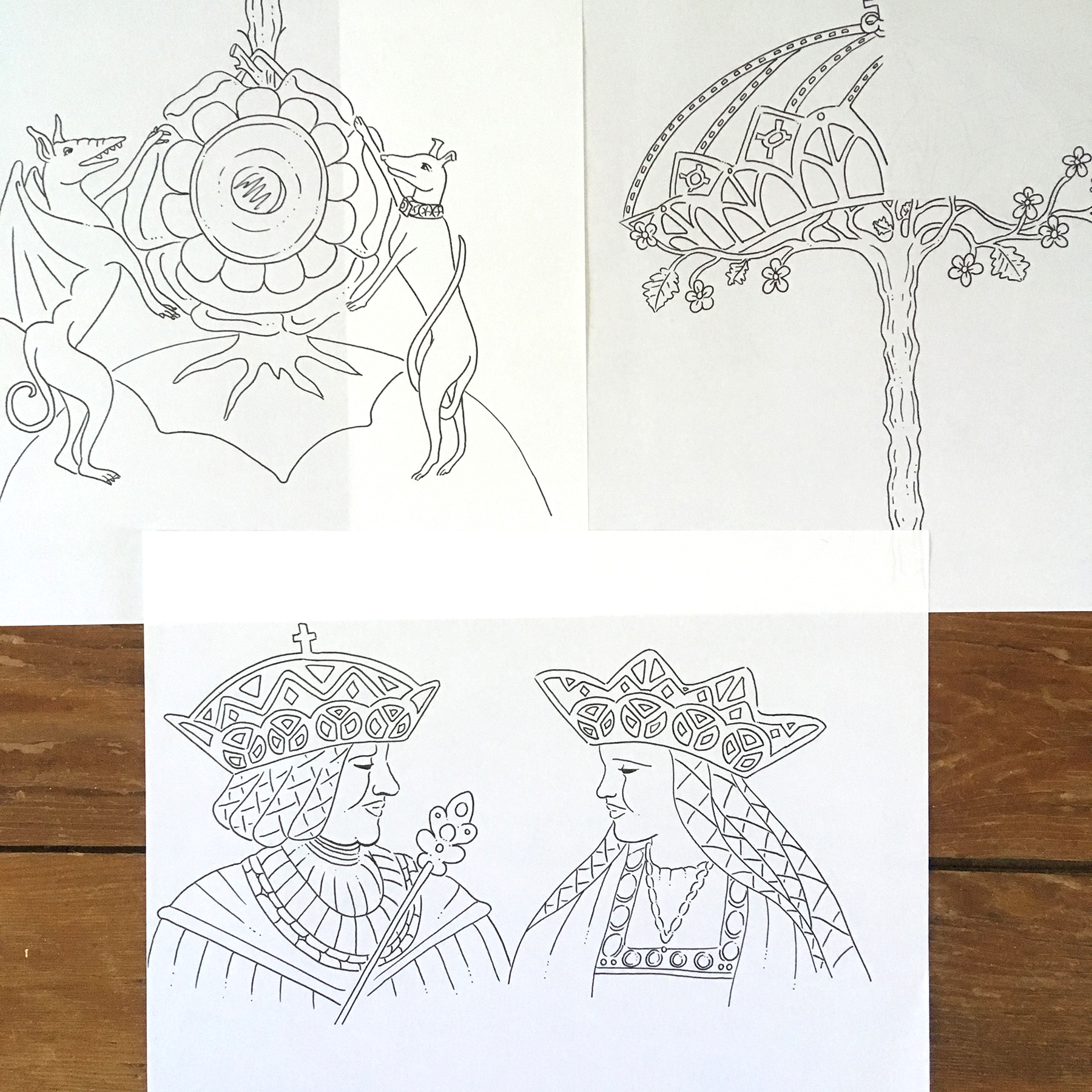 """Original sketches for the """"Sudbury Hutch"""" page in  Tudor Queens and Consorts ."""