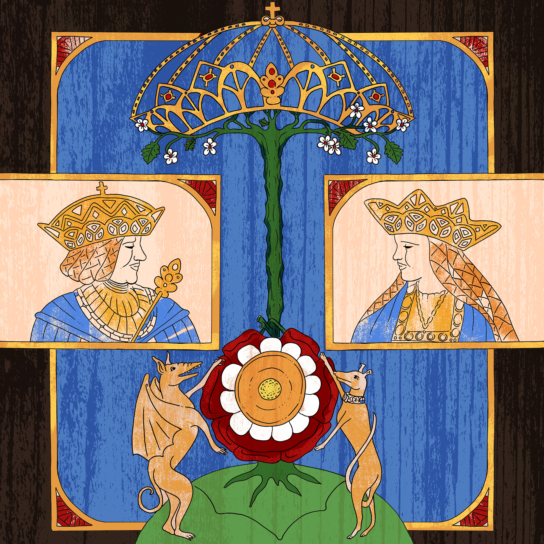 The coloured drawing from the book,  Colouring History: Tudor Queens and Consorts .
