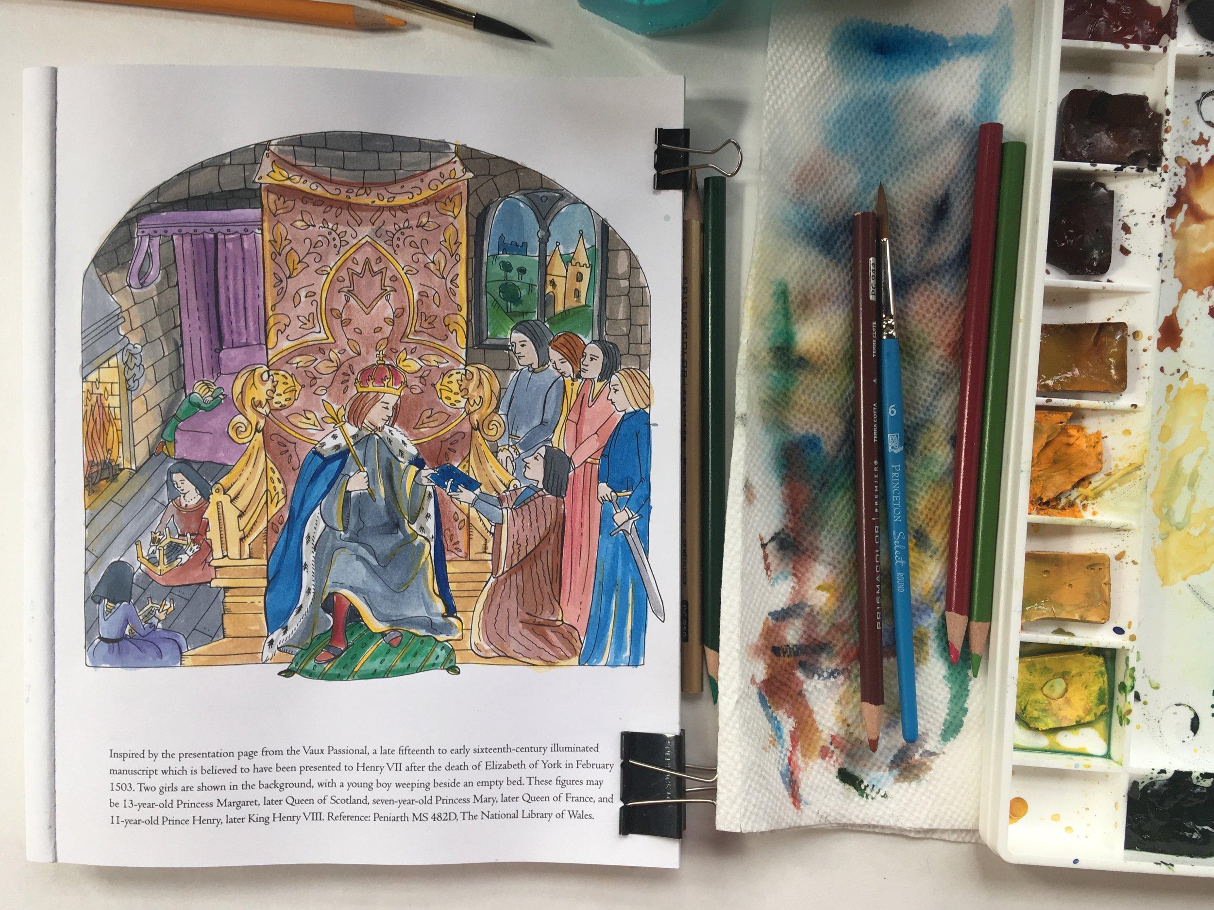 Watercolor of Tudor Queens and Consorts