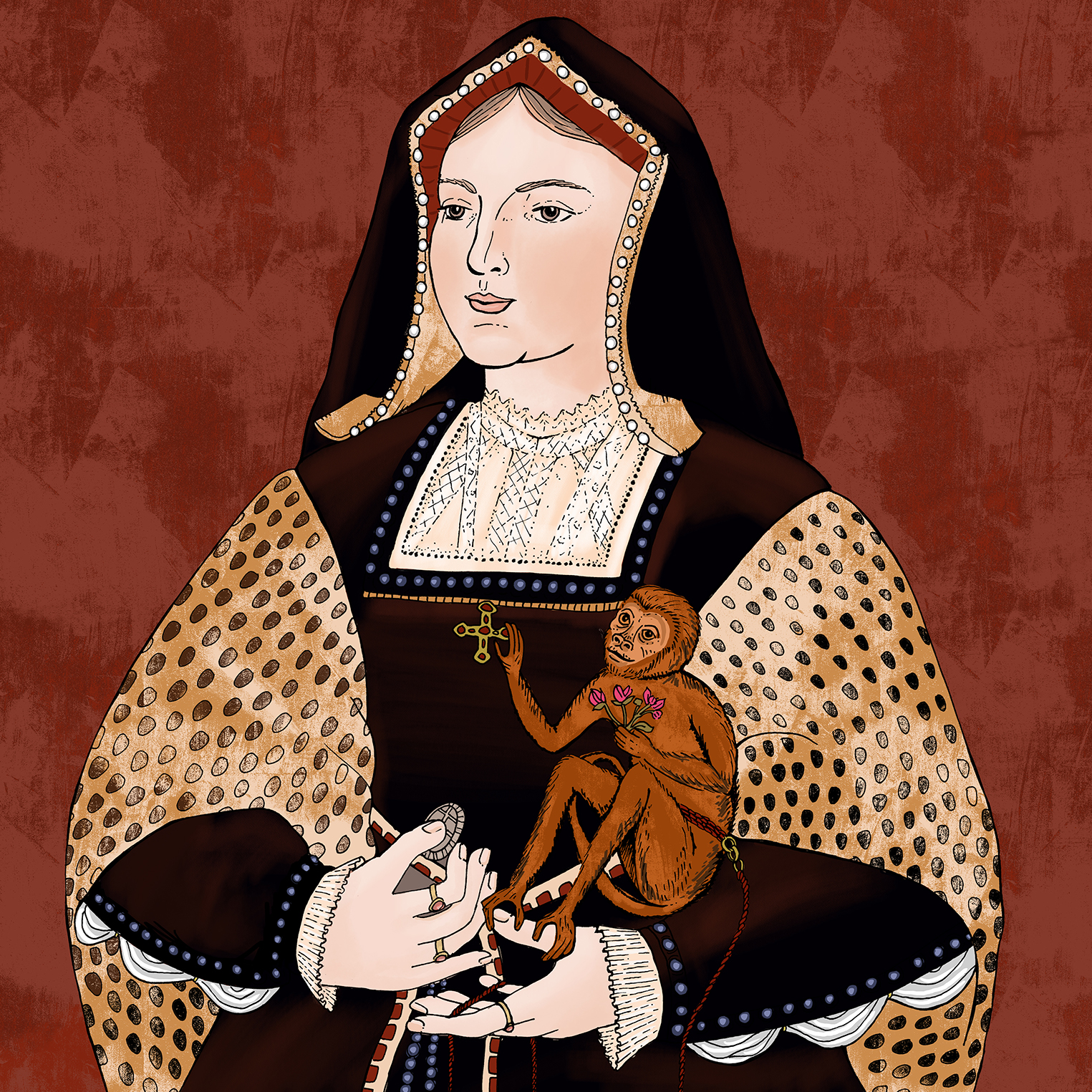 A colored-in version of Katherine of Aragon from  Tudor Queens and Consorts .