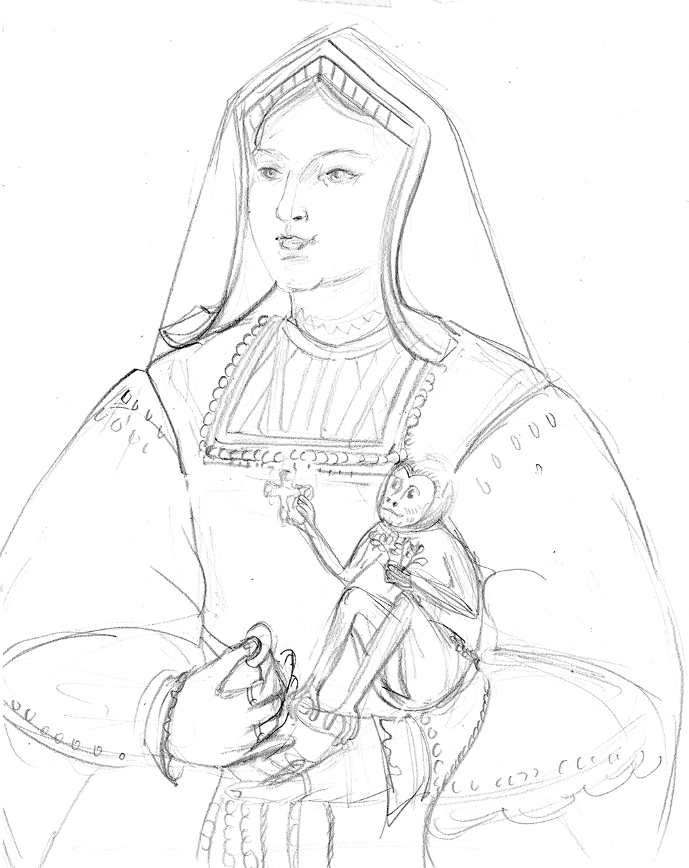 Rough pencil sketch of Katherine of Aragon for the book,  Tudor Queens and Consorts .