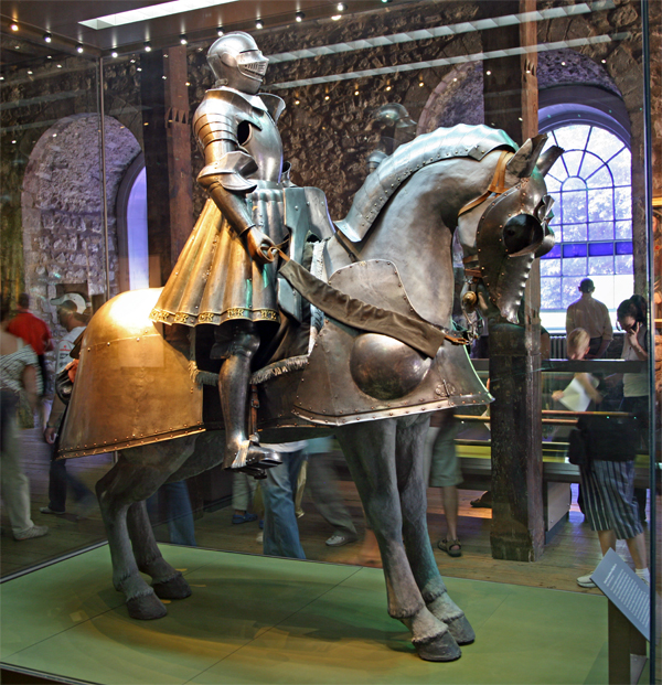 King Henry VIII's jousting armor. Worn in his youth, it is adorned with intertwined Hs and Ks: Henry and Katherine of Aragon.