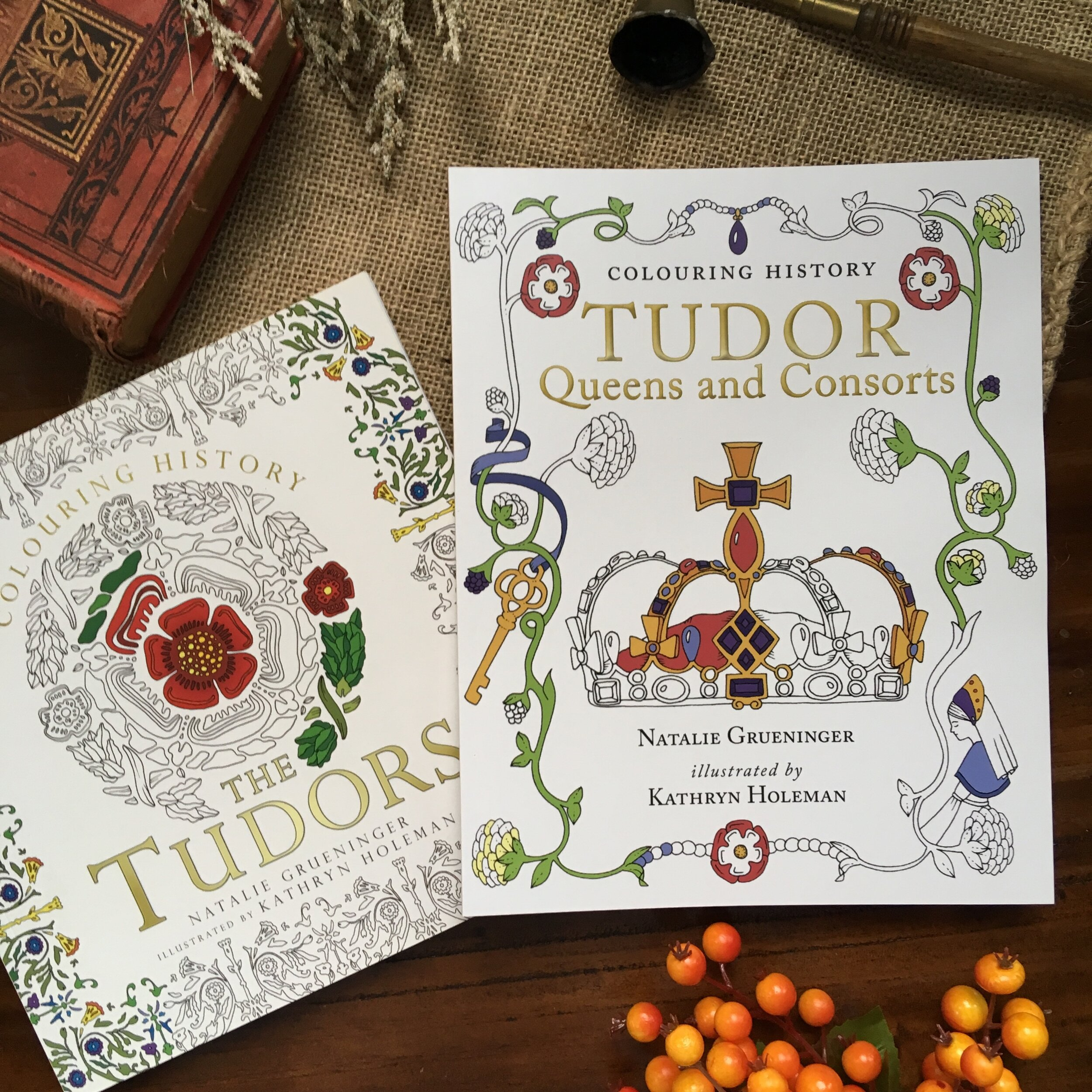 You can find our first book,  Colouring History: The Tudors , on Amazon  US ,  UK , and many more countries as well as on  BookDepository.com