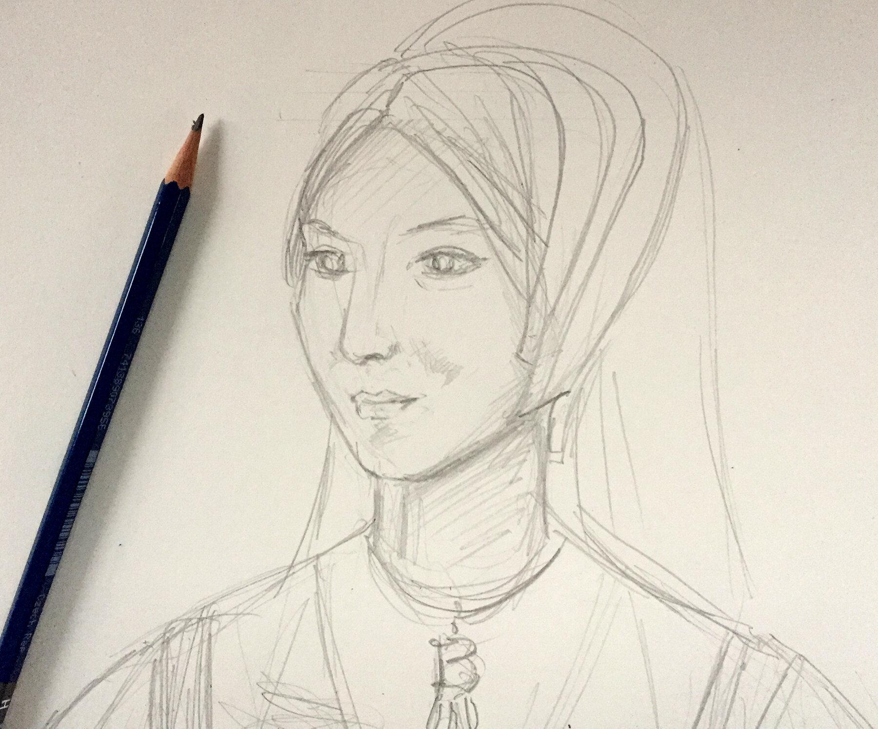 Early pencil sketch of the Anne Boleyn page.