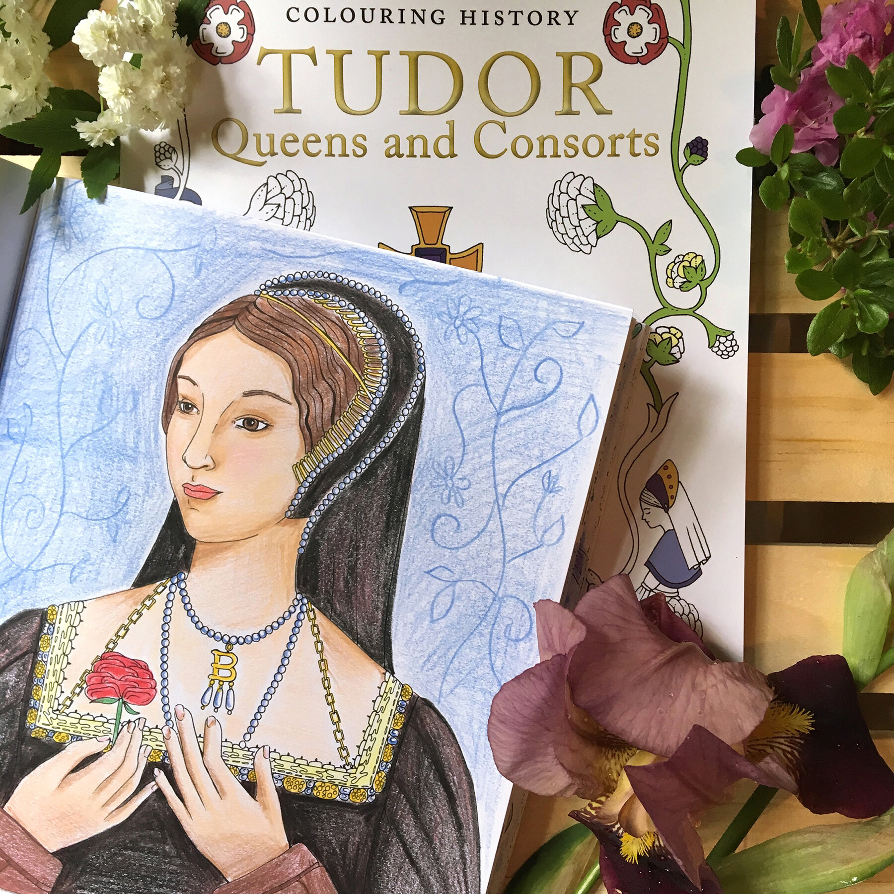 Anne Boleyn portrait page from  Colouring History: Tudor Queens and Consorts