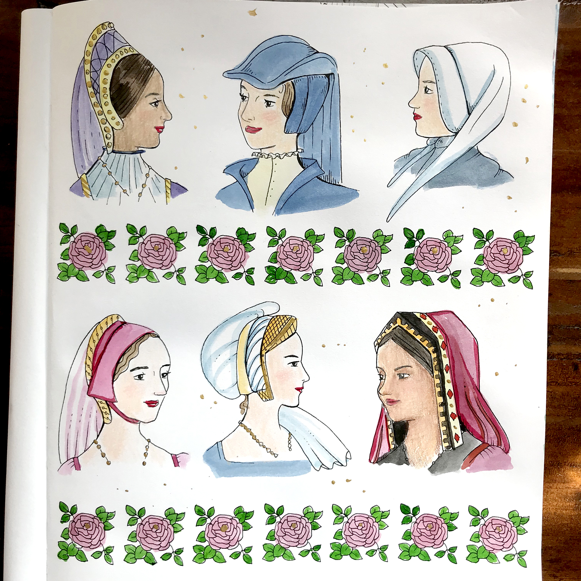 Completed Page from  Colouring History: Tudor Queens and Consorts . Media used: Dr. Ph. Martin's India Ink, Prismacolor pencils, and gold calligraphy ink.