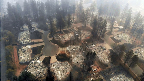 Paradise, California, a small retirement community in the Chico metropolitan area, was nearly wiped off the map by wildfire on November 8, 2018. (Image: Carolyn Cole/Los Angeles Times/TNS)