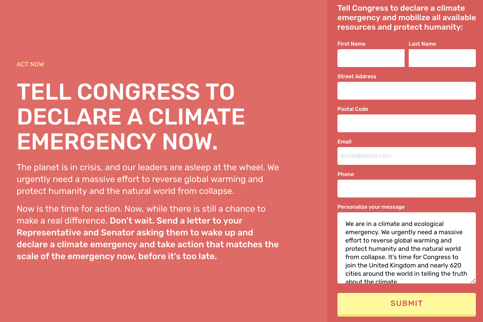 The online petition and partner information can be found at  ClimateEmergency.US