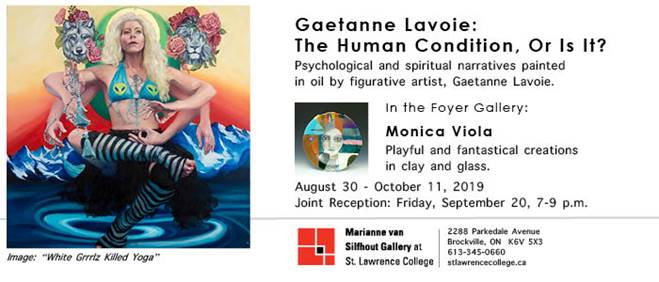 "Been a long time comin'!    Please join me in celebrating my first solo show in Canada in almost 10 years. I am honoured to invite you to the opening reception of my exhibit ""The Human Condition, or is it?"" at the Marianne Van Silfhout Gallery at St. Lawrence College in Brockville, ON. Sept. 20th, 2019, 7-9pm.  This exhibit is serendipitous to say the least. After moving to Kingston in November 2018 I opened my inbox that fateful day in February, the cold long winter just about killing any ounce of spirit left, to read the invitation to exhibit at the Marianne Van Silfhout Gallery and was absolutely exalted. I graciously accepted the galleries call to exhibit, without question. I feel blessed to be exhibiting at such a prestigious location and am in awe of how Heather Savage (gallery director) has displayed my work. It's by far the best exhibit I've ever had and it is my greatest pleasure to invite you to celebrate with me the evening of Sept. 20th.  If by whatever unfortunate circumstance you are unable to attend the event please do stop in whenever you have time. The exhibit will be hung until October 11th!  Thank you for your continued support and encouragement. It's not for naught! I hope to see you there"