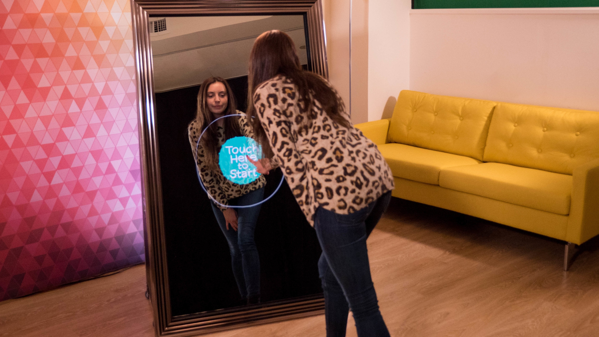 photo booths - Our super popular Selfie Photo Mirror is so much more than a traditional photo booth! See how this interactive, touchscreen, full size mirror will be a massive hit at your event.