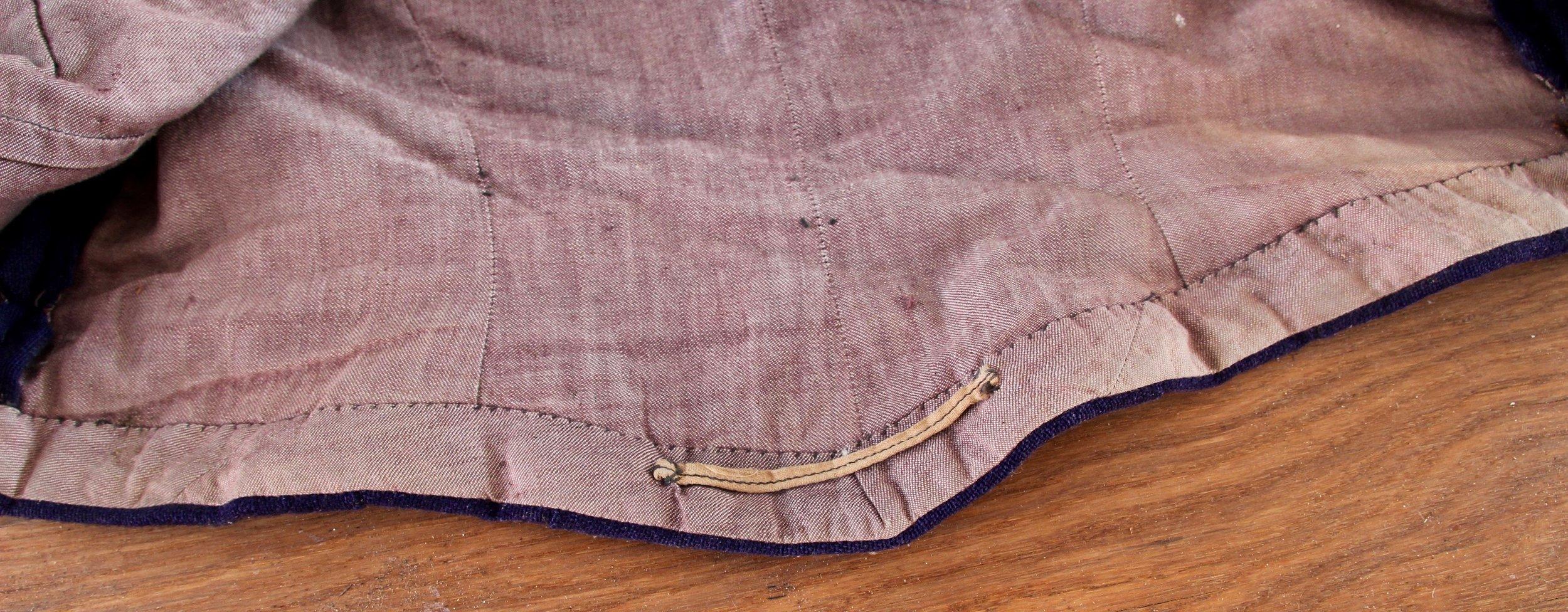 Lining of blue jacket