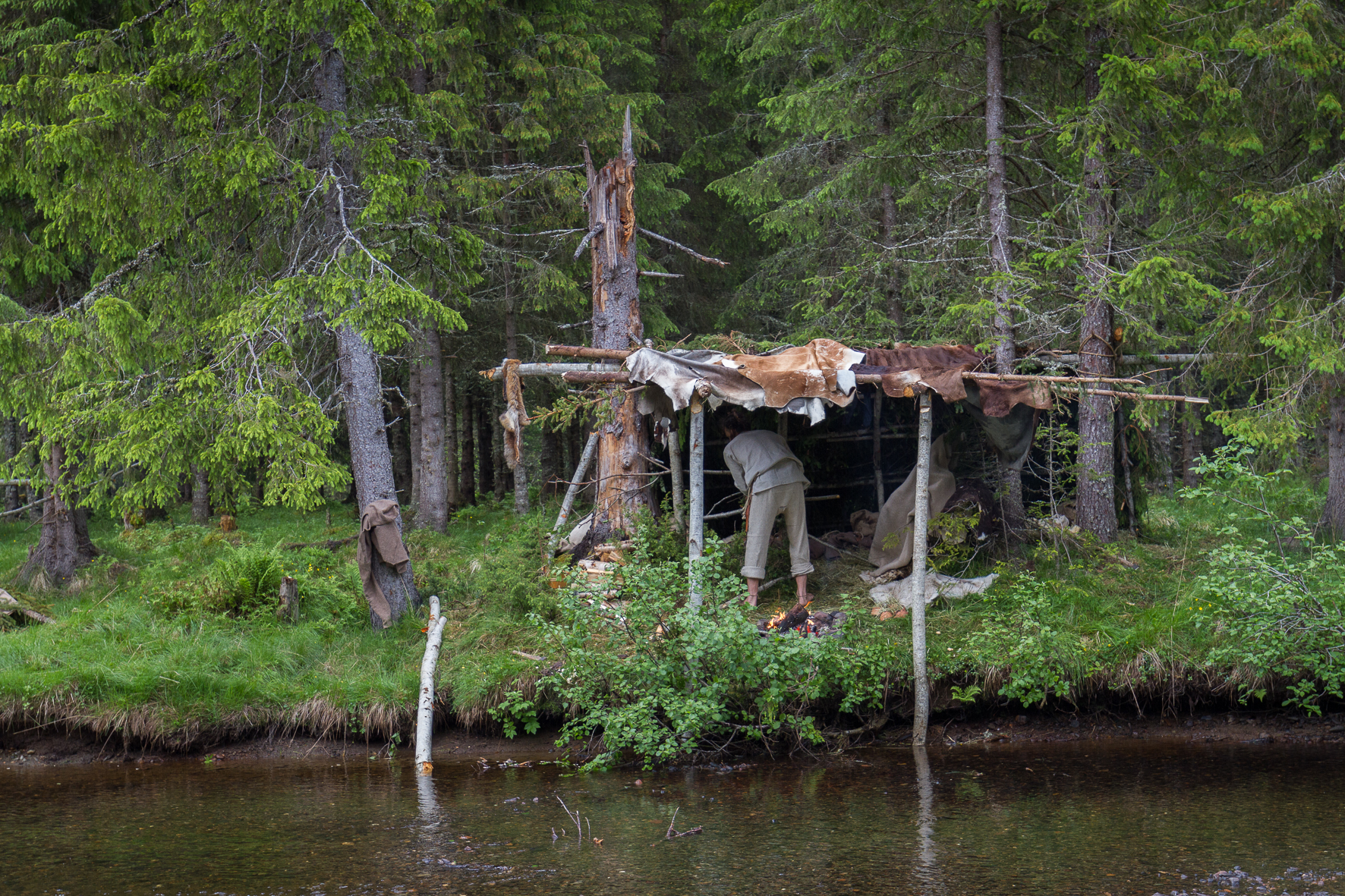 Photo from  The Viking Way . Gapahuk made from pine twigs and skins.