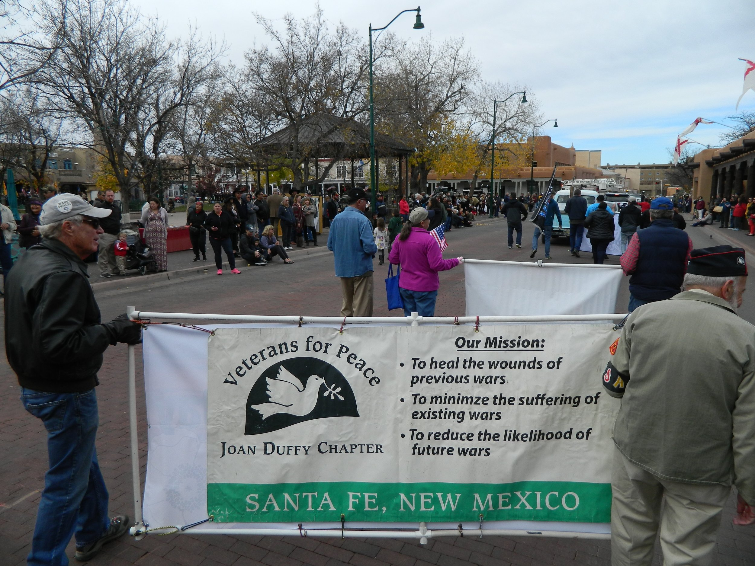 Santa Fe, NM chapter of Veterans for Peace marching in the annual Veterans Day/Armistice Day parade.