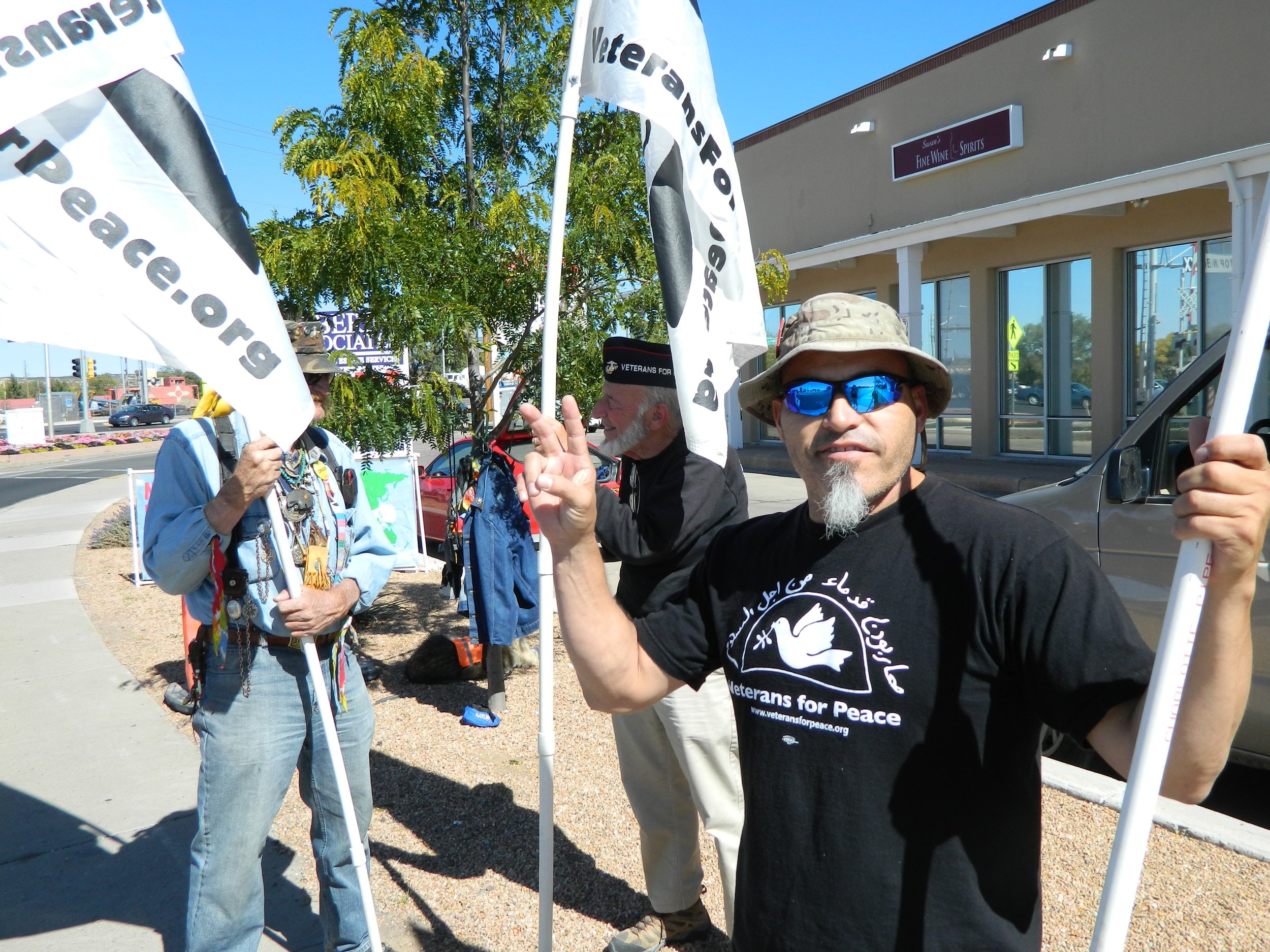 Gulf War vet Daniel Craig with Santa Fe, NM VFP colleagues for their weekly Friday peace vigil.