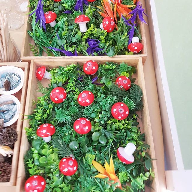 Our enchanted decorations for our board games this week !  #art #mushrooms