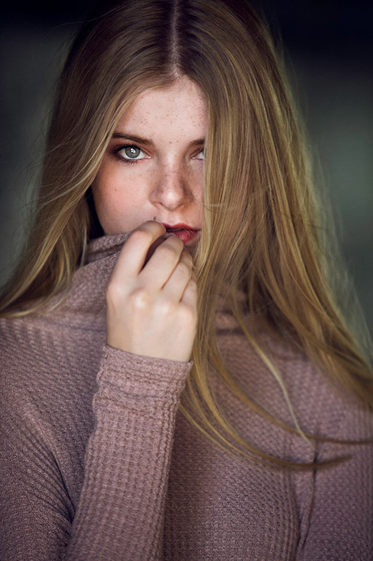 Model posing in a sweater. Portrait Photography. Editorial Photography.