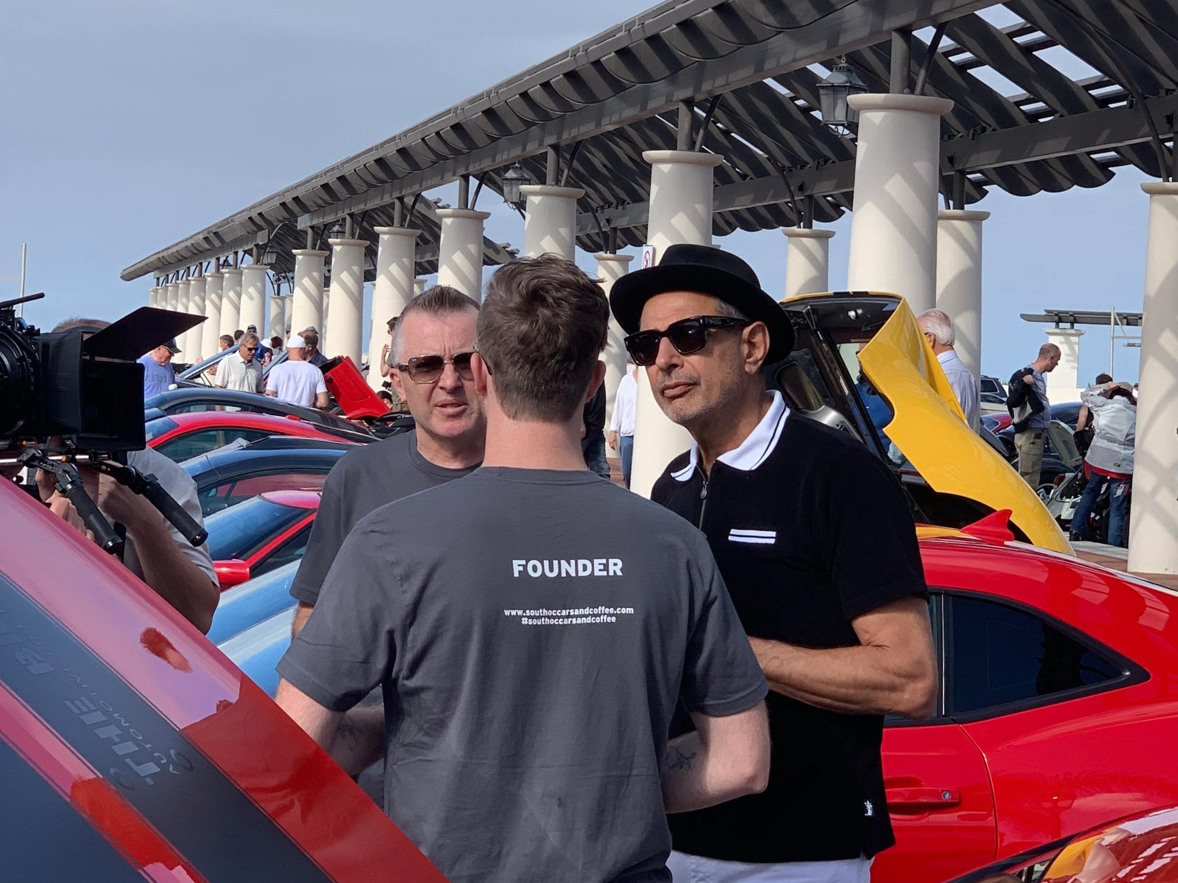 Jeff Goldblum shooting a tv series at South OC Cars and coffee