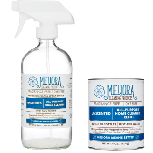 Meliora Household Cleaner: Meliora Cleaning Products' All-Purpose Home Cleaner is our one-stop solution for cleaning the hard surfaces in your home. Floors, walls, countertops, even the greasy fingerprint smudges on the fridge. Just add water for a better cleaner that's free of fragrances, dyes, and preservatives. - Our refillable GLASS spray bottle comes with one tablespoon of cleaner pre-loaded.When empty, simply add 1 tablespoon of All-Purpose Home Cleaner REFILL to the bottle.