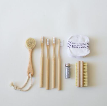 Zero Waste Self-Care Kit: Typical health and beauty products are designed for disposal and contribute to a significant portion of household waste. These beautifully crafted products are designed to be used again and again, and can be primarily be composted at the end of life. - 1 wood face brush4 bamboo toothbrushes (w/ nylon bristles — must be removed before composting toothbrush)1 silk dental floss (refillable glass container + 2 silk spools)20 cotton facial rounds1 wood nail brush