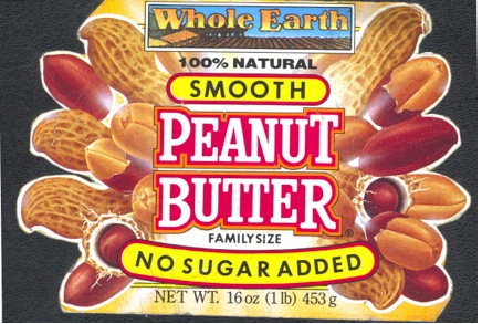 Whole Earth Peanut Butter label