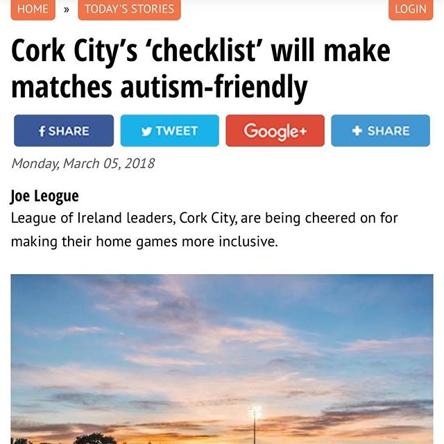 We are big fans of this! Good work by @corkcityfc creating greater access for all! You can read the full article here!  https://www.irishexaminer.com/ireland/cork-citys-checklist-will-make-matches-autism-friendly-467850.html #inclusion #ability #accessibility