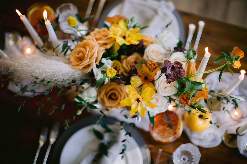 Wedding Table Florals | Gold and Yellows