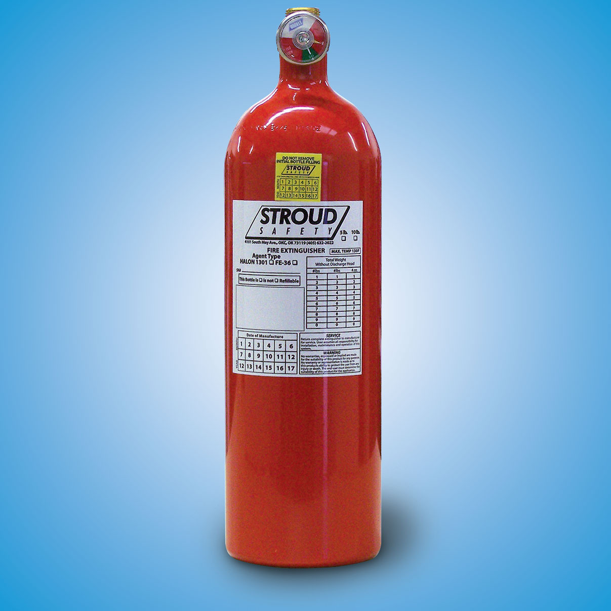 """Fire Bottle   Replacement bottle only.   5# FE (13.75"""" tall, 4.375"""" diameter, 12.5"""" circumference)  Part #93062 — $312   10# FE (15.5"""" tall, 5.25"""" diameter, 16.625"""" circumference)  Part #93072 — $522"""