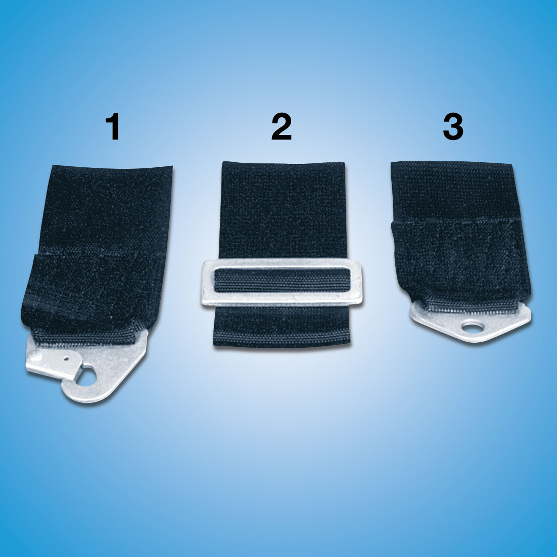 Seat Belt End Fittings   End fittings for all seat belt systems. Various types of mounting available at no additional cost.  1. Snap-In (needs eyebolt attachment) 2. Wrap Around -Standard 3. Bolt-In