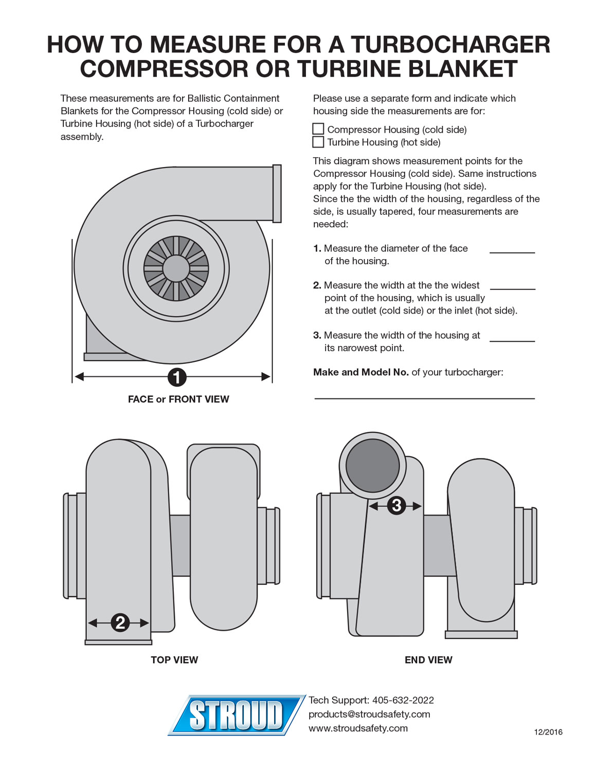 Download the How to Measure for a Turbocharger Compressor or Turbine Blanket instruction sheet here (PDF).