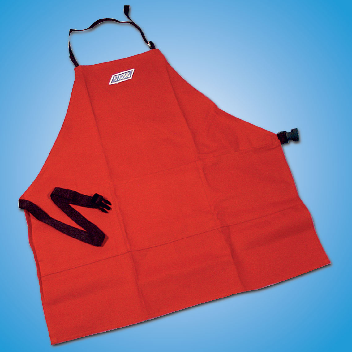 Machinist Apron   Stroud pit aprons are made with fire retardant cotton to protect from flash fires. They offer an adjustable waist and neck, with quick release buckle. Aprons have three large pockets at waist level to hold tools, parts, etc., when working on your car. Available in black, red or blue. Custom monogramming available.  Part #8040 — $31