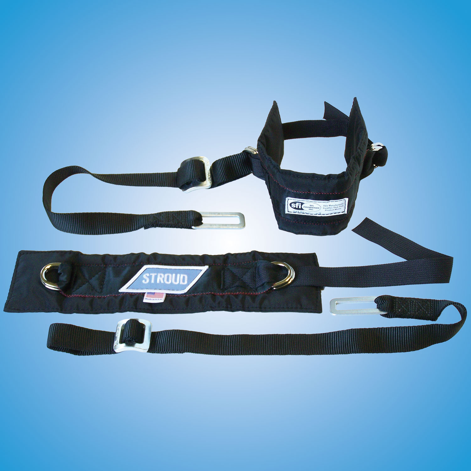 Arm Restraints   SFI approved with 2 inch wide arm bands with 1 inch wide adjustable restrainer straps.  Part #600 — $60
