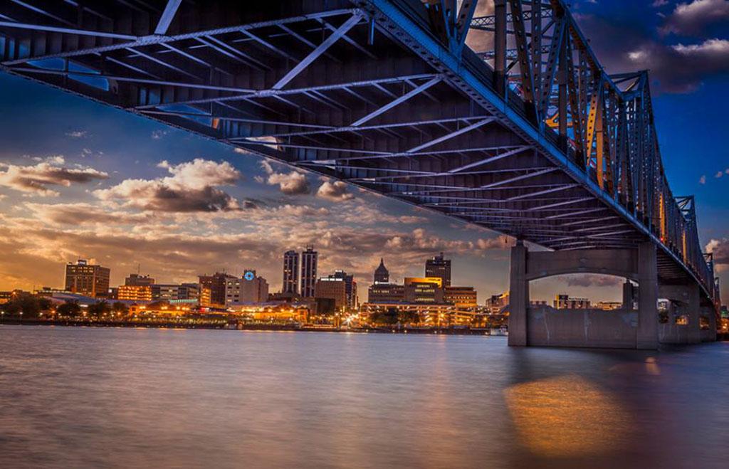 Photo of bridge into Peoria, Illinois at sunset.