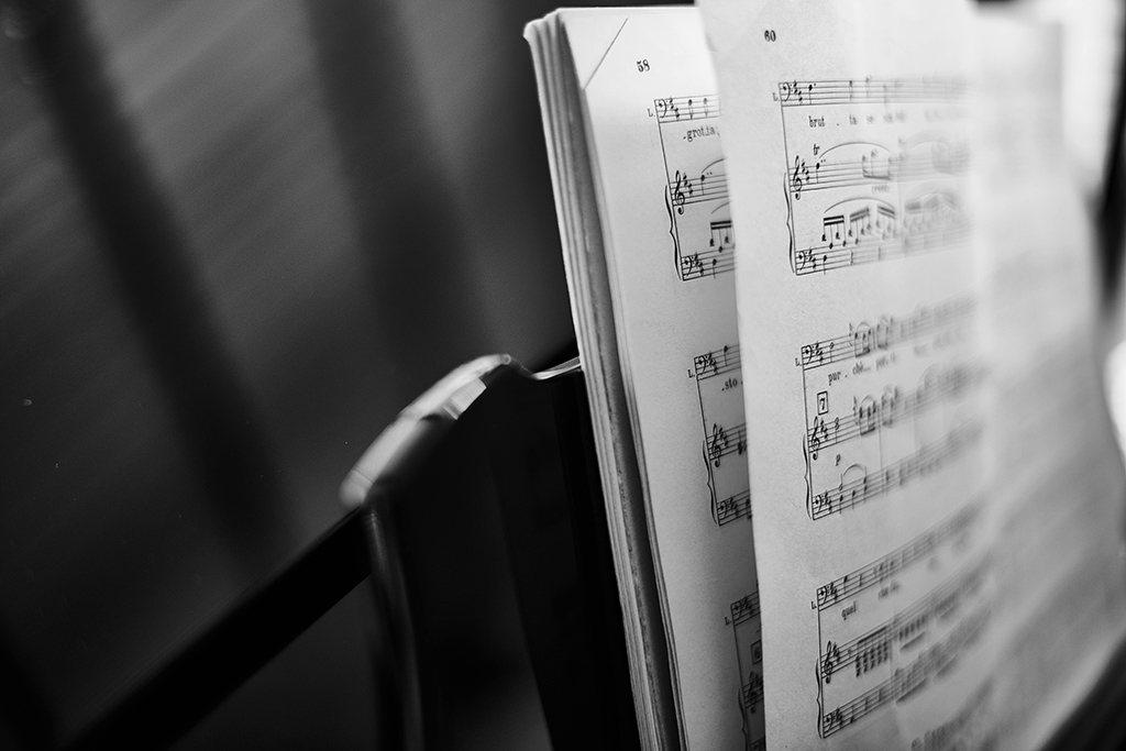 Photo of sheet music on a stand.
