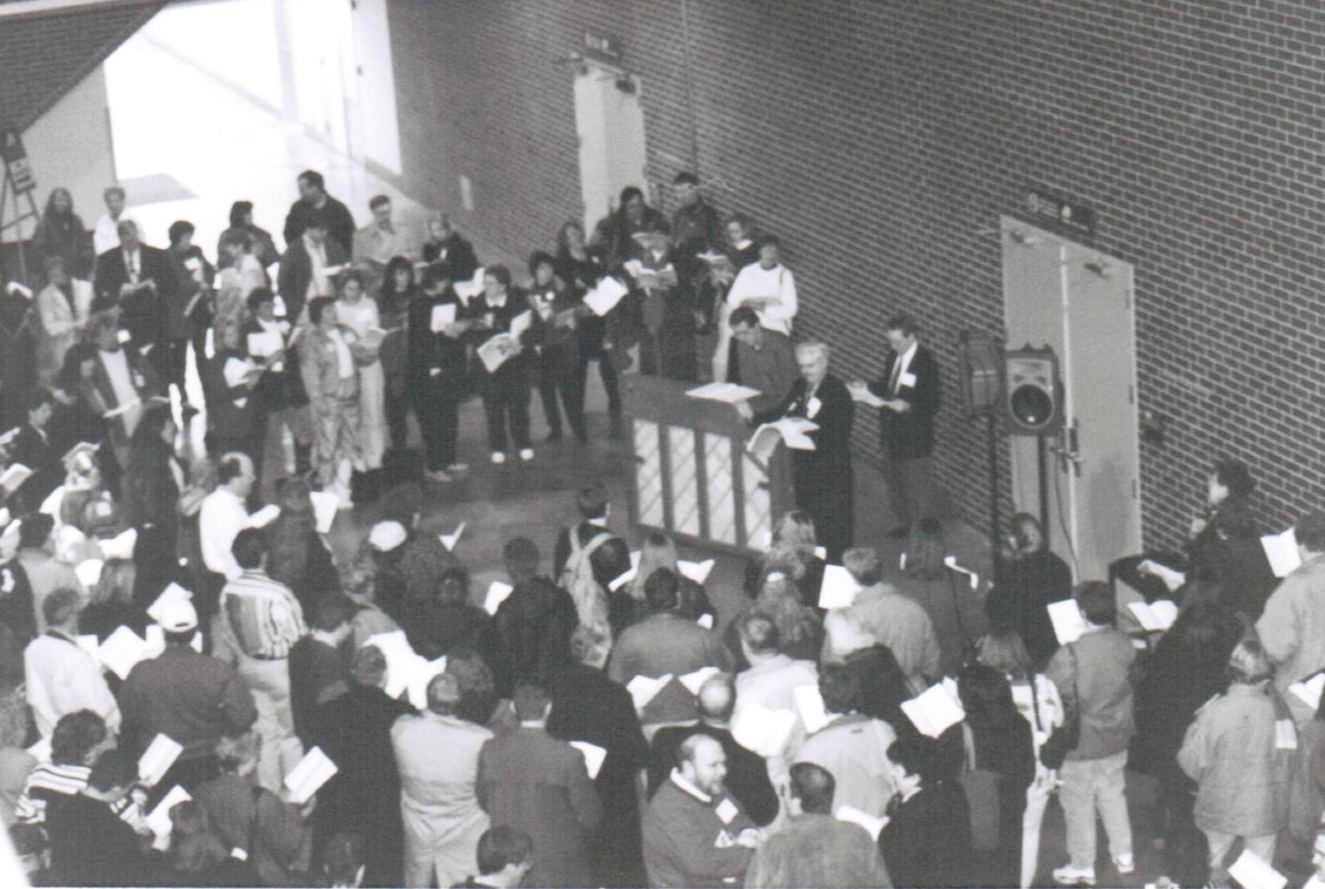 Black and white overhead picture of the All-Conference Sing at the Peoria Civic Center