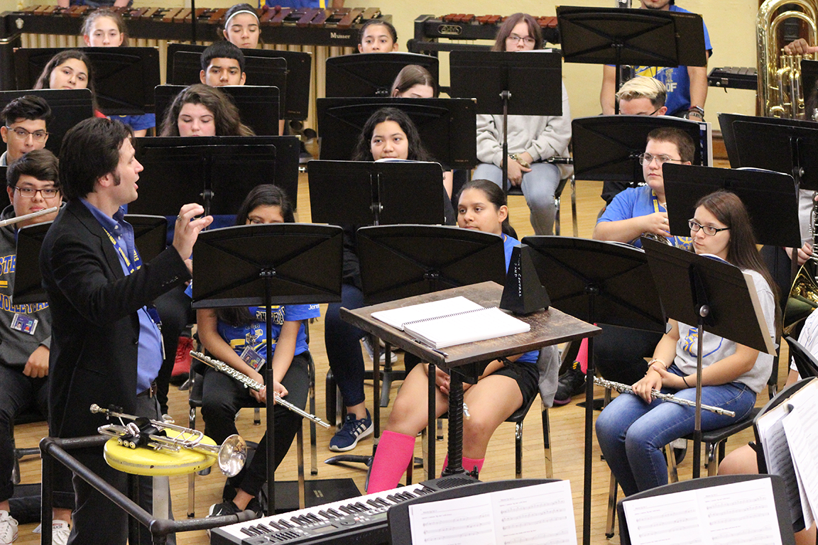 Don Stinson leading the band in rehearsal at Joliet Central High School.