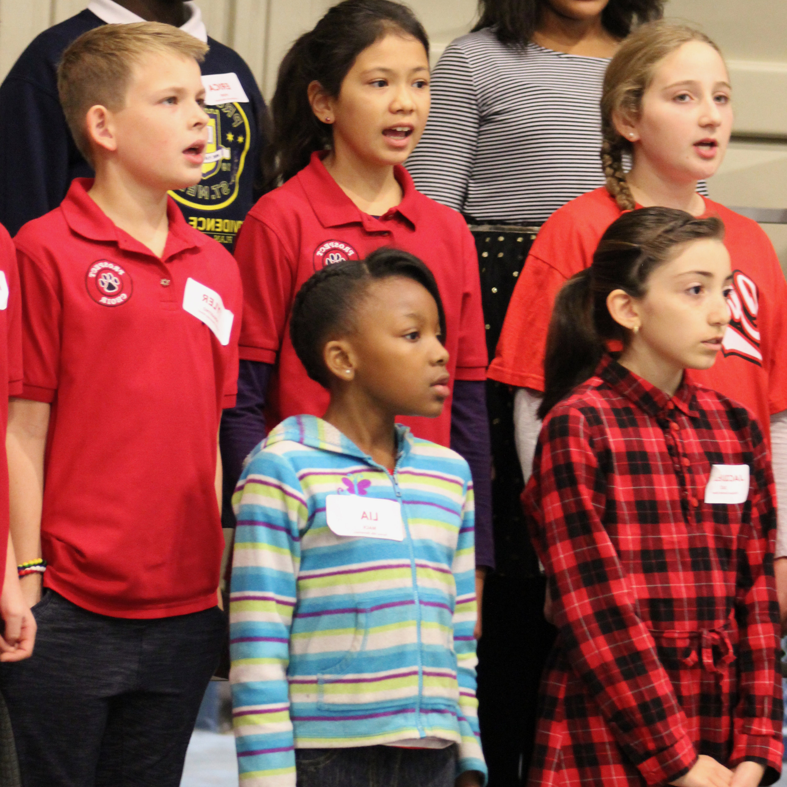 Group of elementary school singers in choir