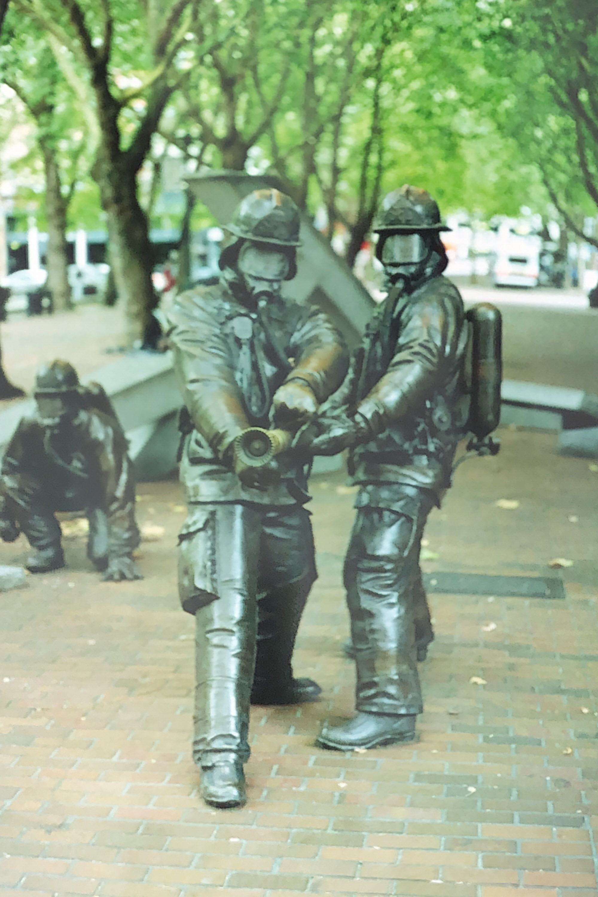 Firefighters in Occidental Square