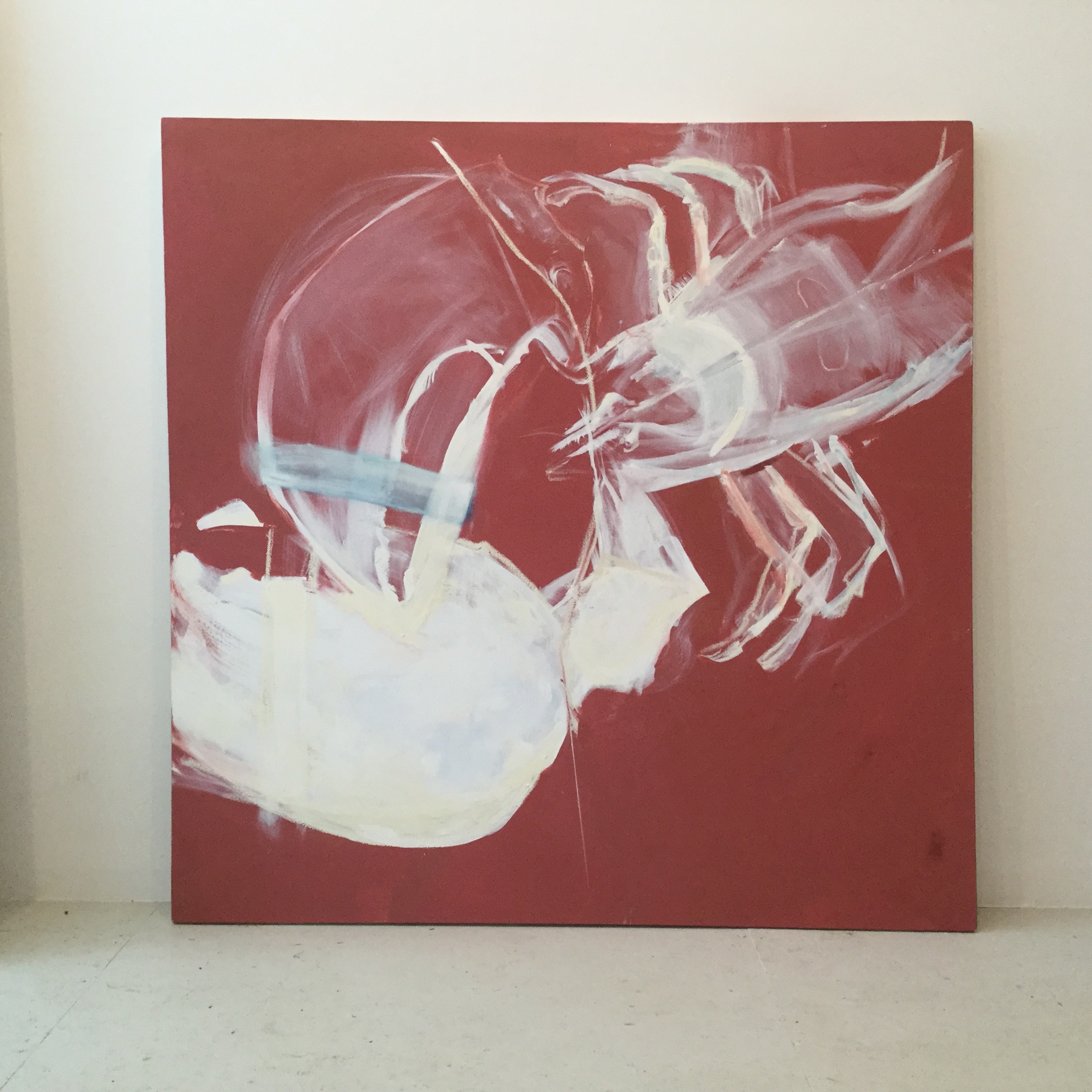 oil, liquid rubber and house paint on canvas 48x48