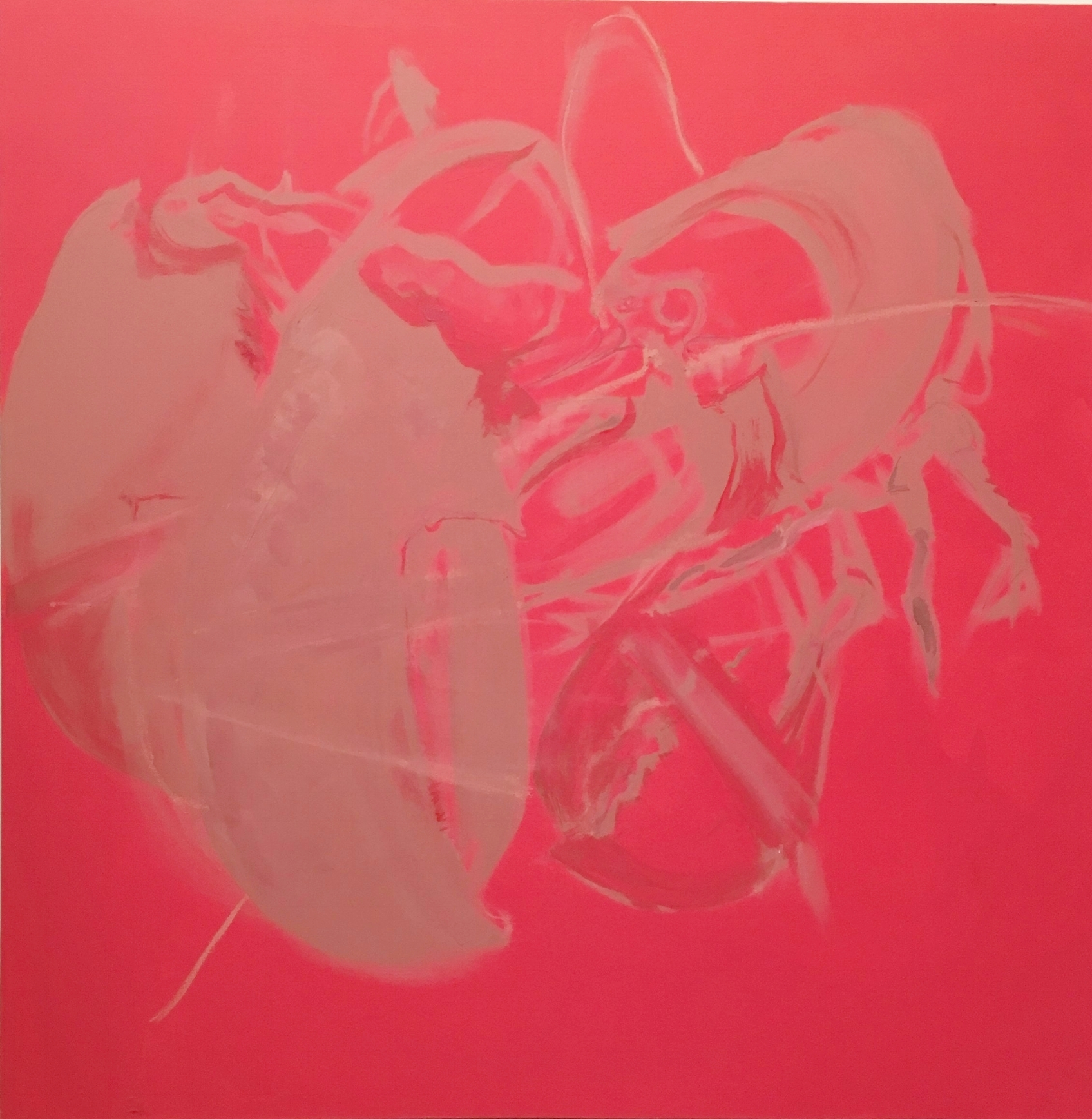 oil, liquid rubber, house paint on canvas 48x48