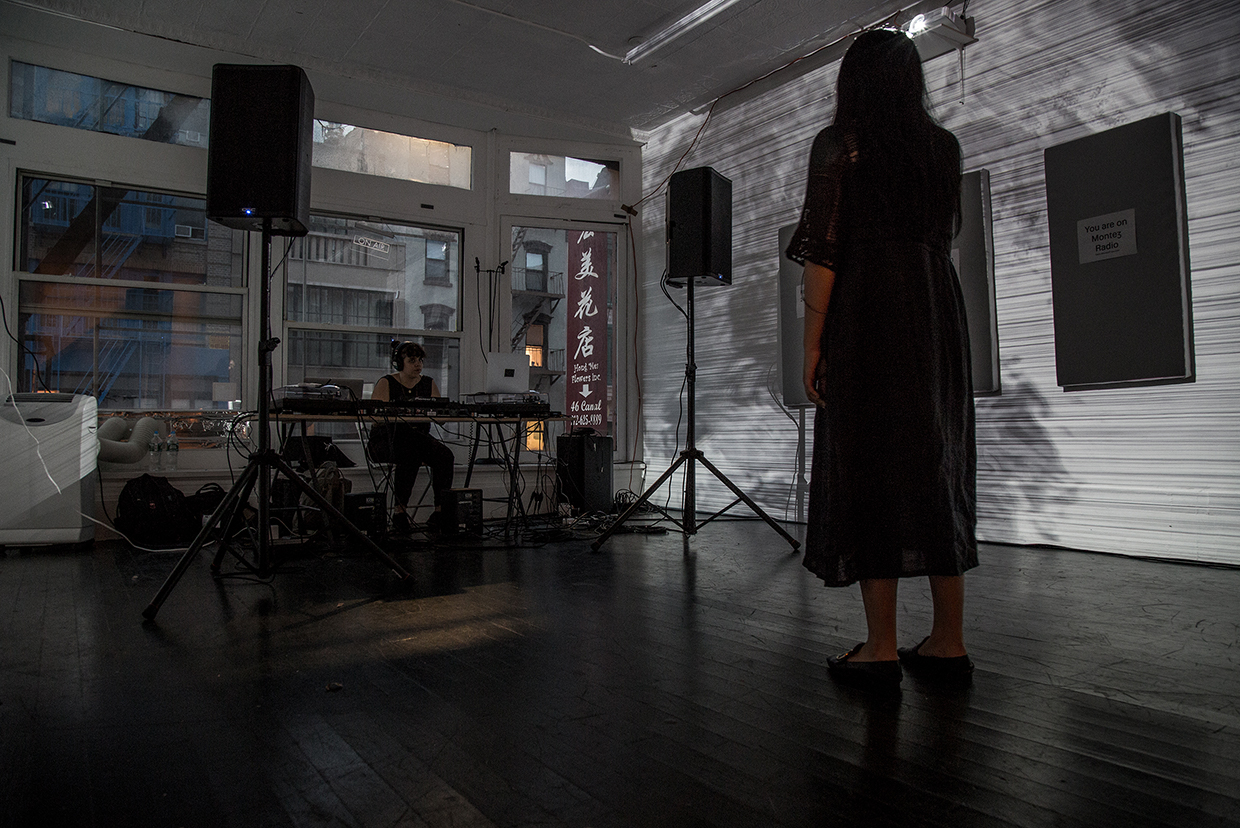 >19980, Montez Press Radio at Mathew Gallery, live mixing by Lee Gilboa, live performance by Lemon Guo, 2018