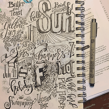 Pen only sketchbook page