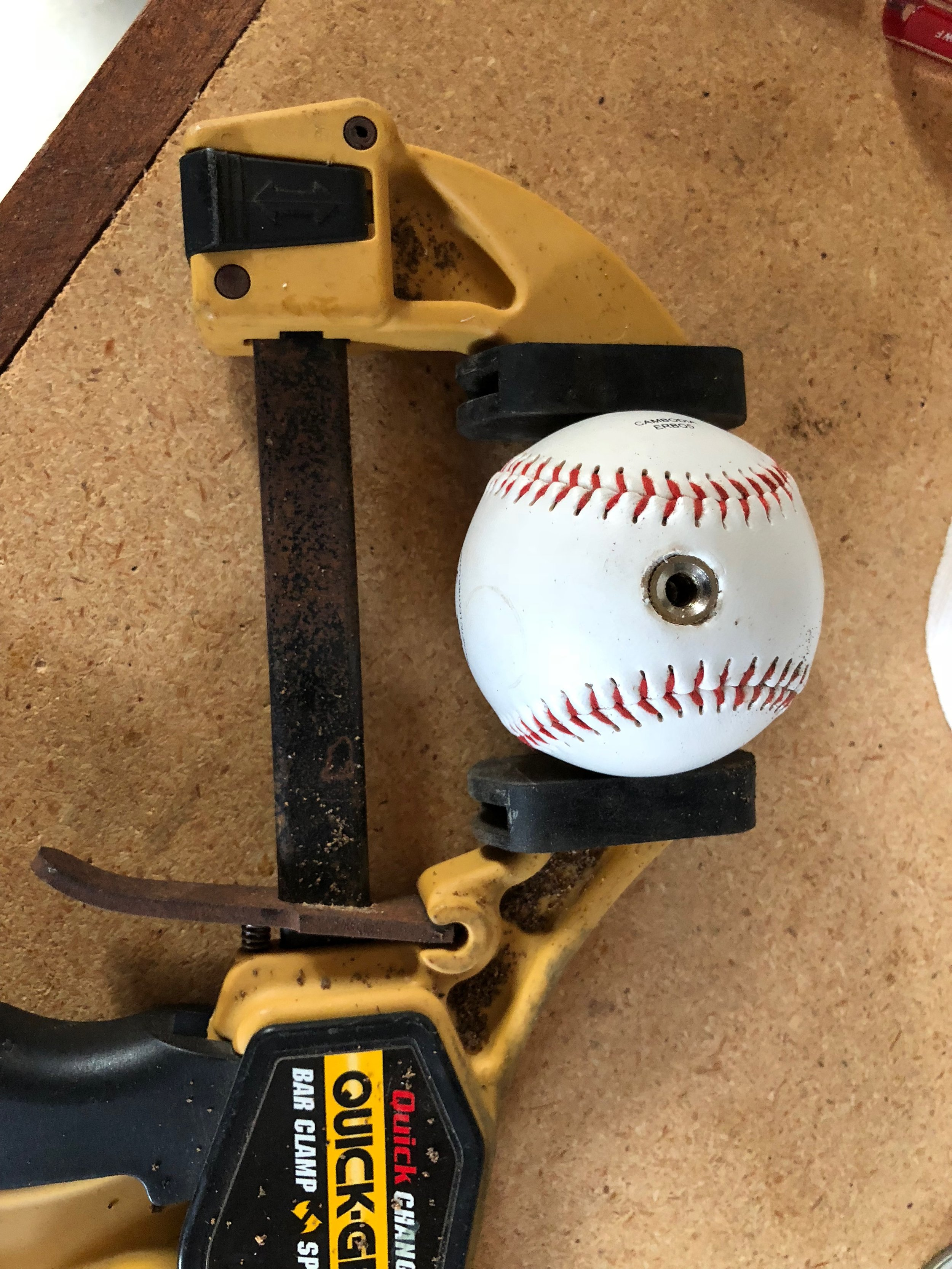 Baseball with finial inserted