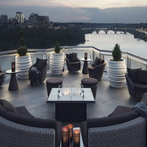 top of the gate - Located on the 15th floor of the Watergate Hotel in Georgetown, this may be the chicest rooftop on the list. Enjoy 360 degree views overlooking the DC skyline and Potomac River, this is the ultimate happy hour location to enjoy the view and the variety of drinks from the bar.