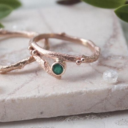 Rose Gold Emerald Ring